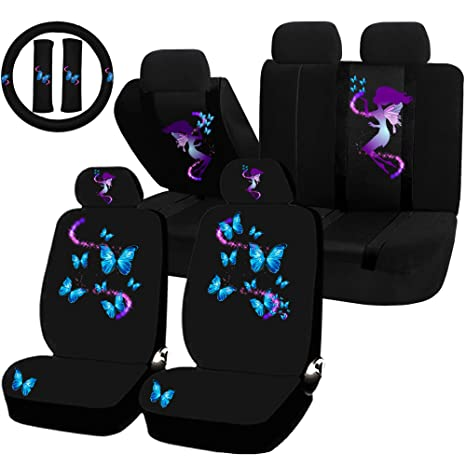 UAA 11pc Fairy Butterfly Mythical Magical Purple Blue Universal Seat Cover Set