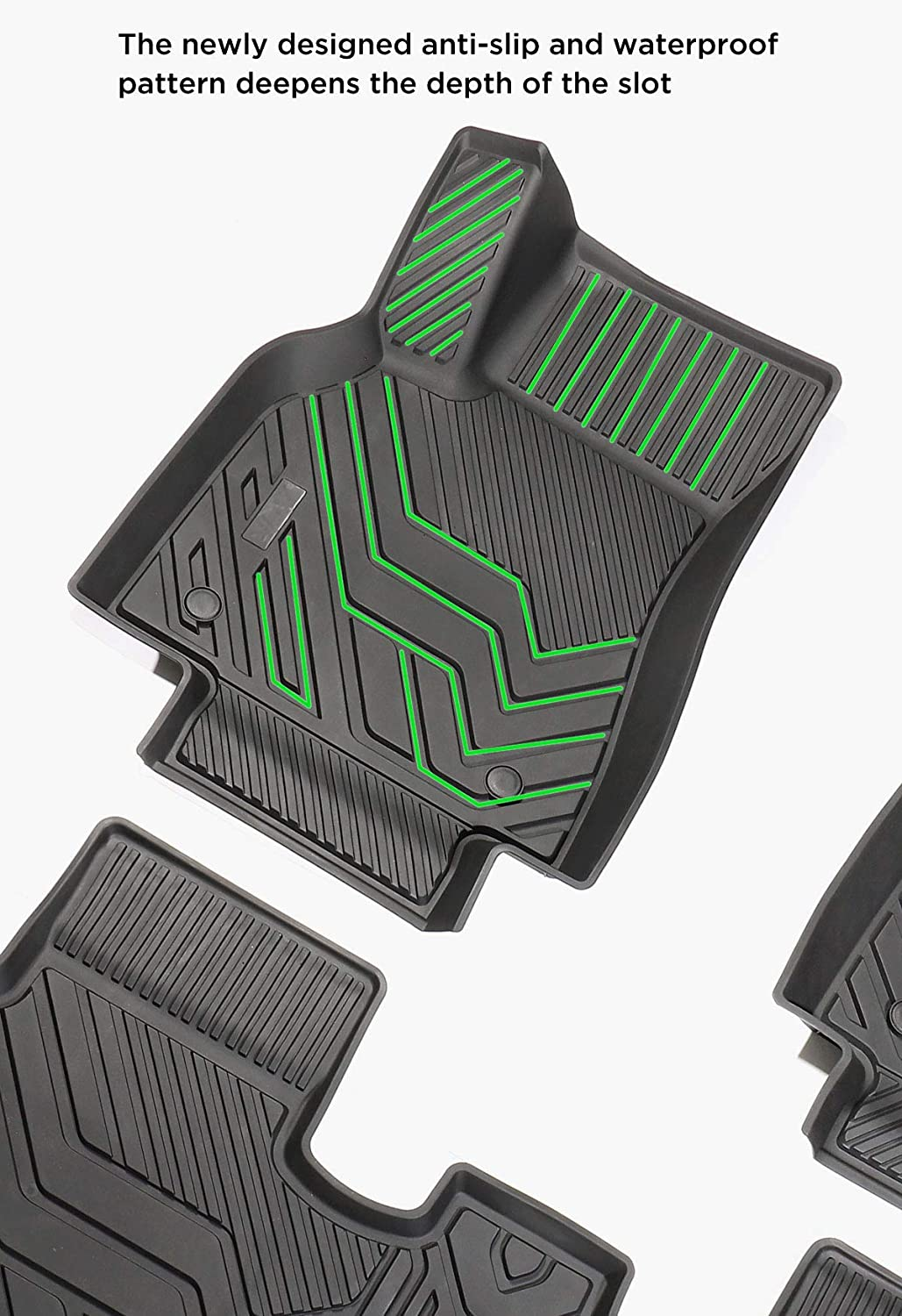 LUCKEASY for Tesla Model 3 2017-2020 Car TPE Injection 3D Stamping Waterproof Foot Mat//Front and Rear Trunk Mat