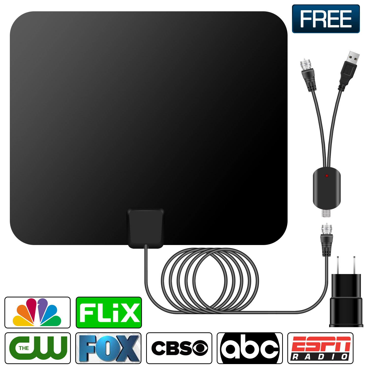HDTV Antenna,Indoor Amplified TV Antenna 50 to 70 Miles Range with Detachable Amplifier Signal Booster and 16 Feet Coaxial Cable (Black)