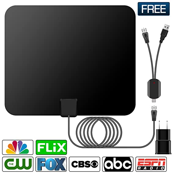 HDTV Antenna,Indoor Amplified TV Antenna 50 to 70 Miles Range with Detachable Amplifier Signal