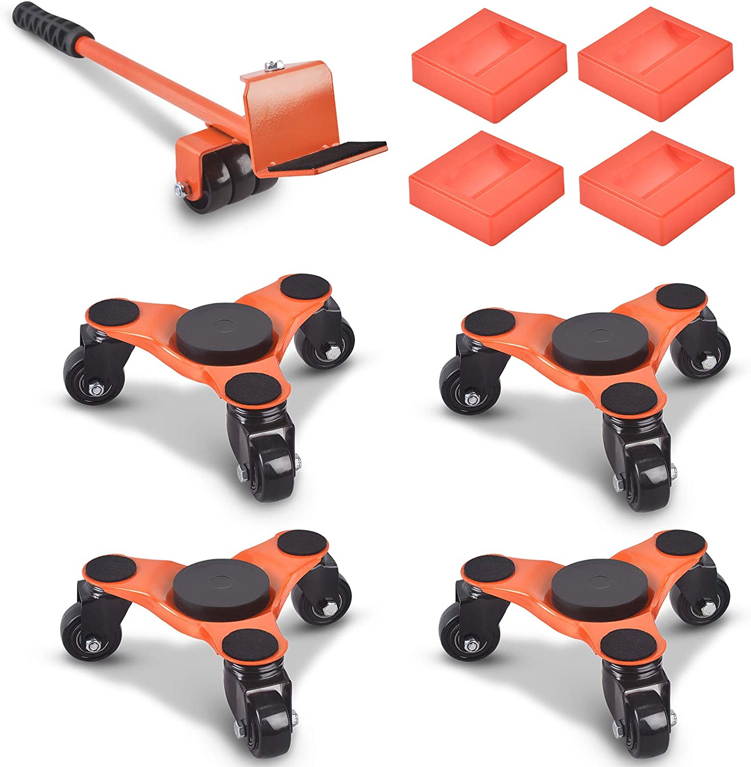 Ronlap 6-Inch Steel Tri-Dolly, 3 Wheels Furniture Mover's Dolly with Lifer, Heavy Furniture Moving Rollers Leg Dolly, Moving Triangle Dolly Swivel Caster, 130 Lbs Capacity Each Pack, 4 Pack, Orange