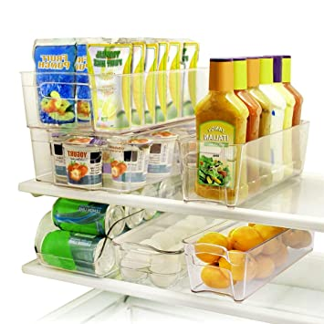 SortWise 6 Piece Arcylic Refrigerator Storage Container Bins Fridge