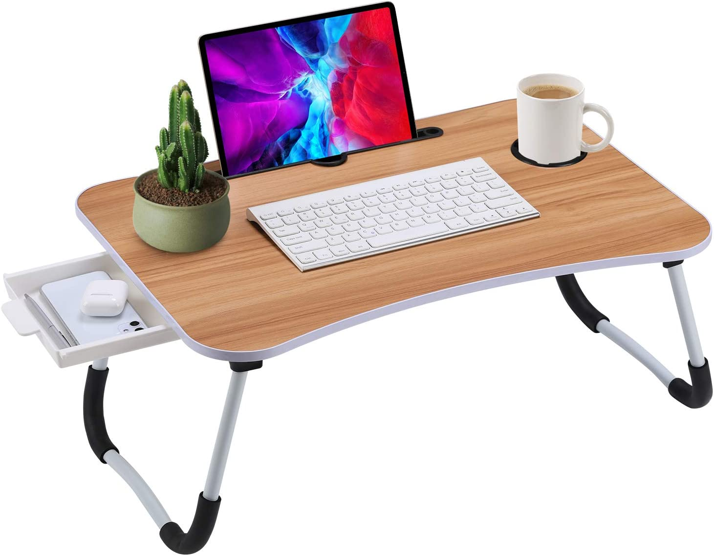 Foldable Laptop Wood Bed Desk Stand Storage Drawer , Serving Tray Dining Table Slot, Notebook Holder, Bed Tray Laptop Desk Eating Breakfast, Watching Movie Couch/Sofa/Floor