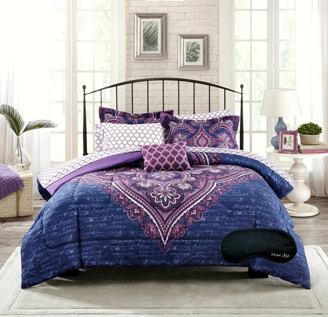 purple bed comforters