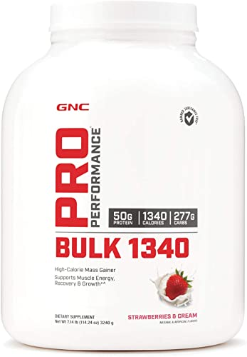 GNC Pro Performance Bulk 1340 - Strawberries and Cream, 9 Servings, Supports Muscle Energy, Recovery and Growth