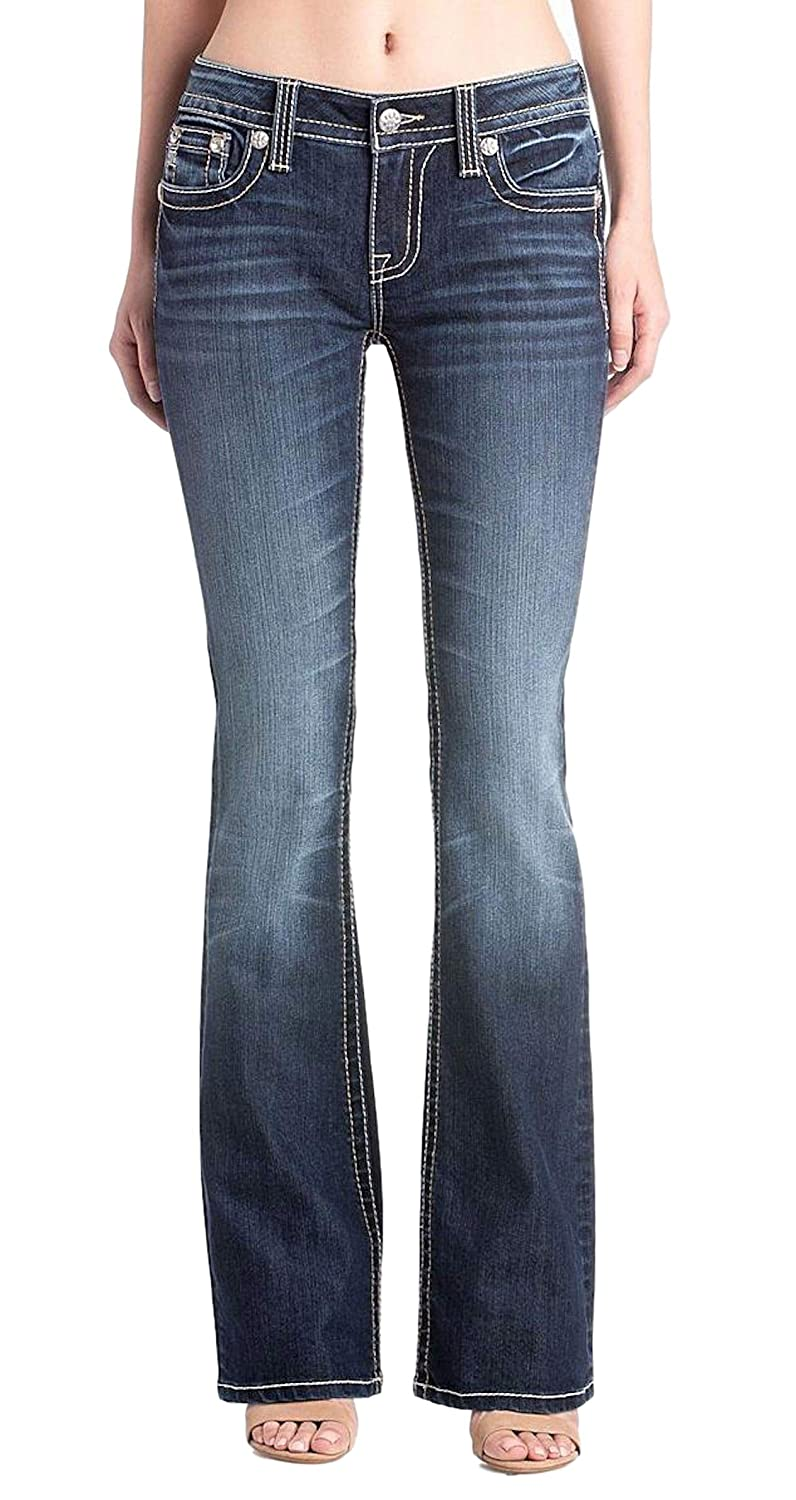 dba11c18d46 ... Miss Me Womens Rose Gold Metallic Feathers Embellished Pocket Mid-Rise  Boot Cut Jeans M3265B2