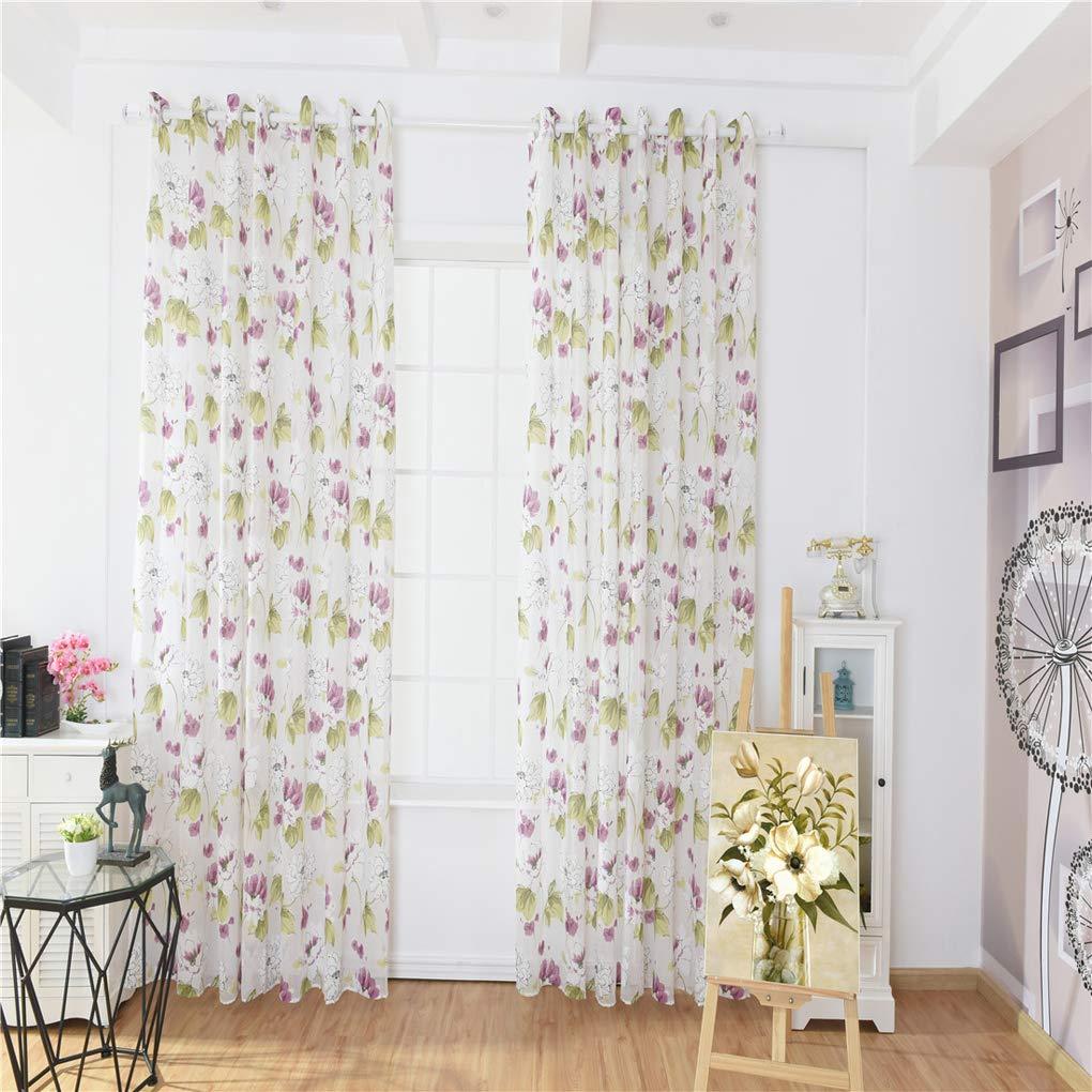Amazon.com: Zerama Ink Lotus Printed Curtain Translucent ...