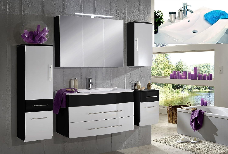 SAM® Diseño de muebles de baño Set Zürich en blanco/negro 5 piezas ...