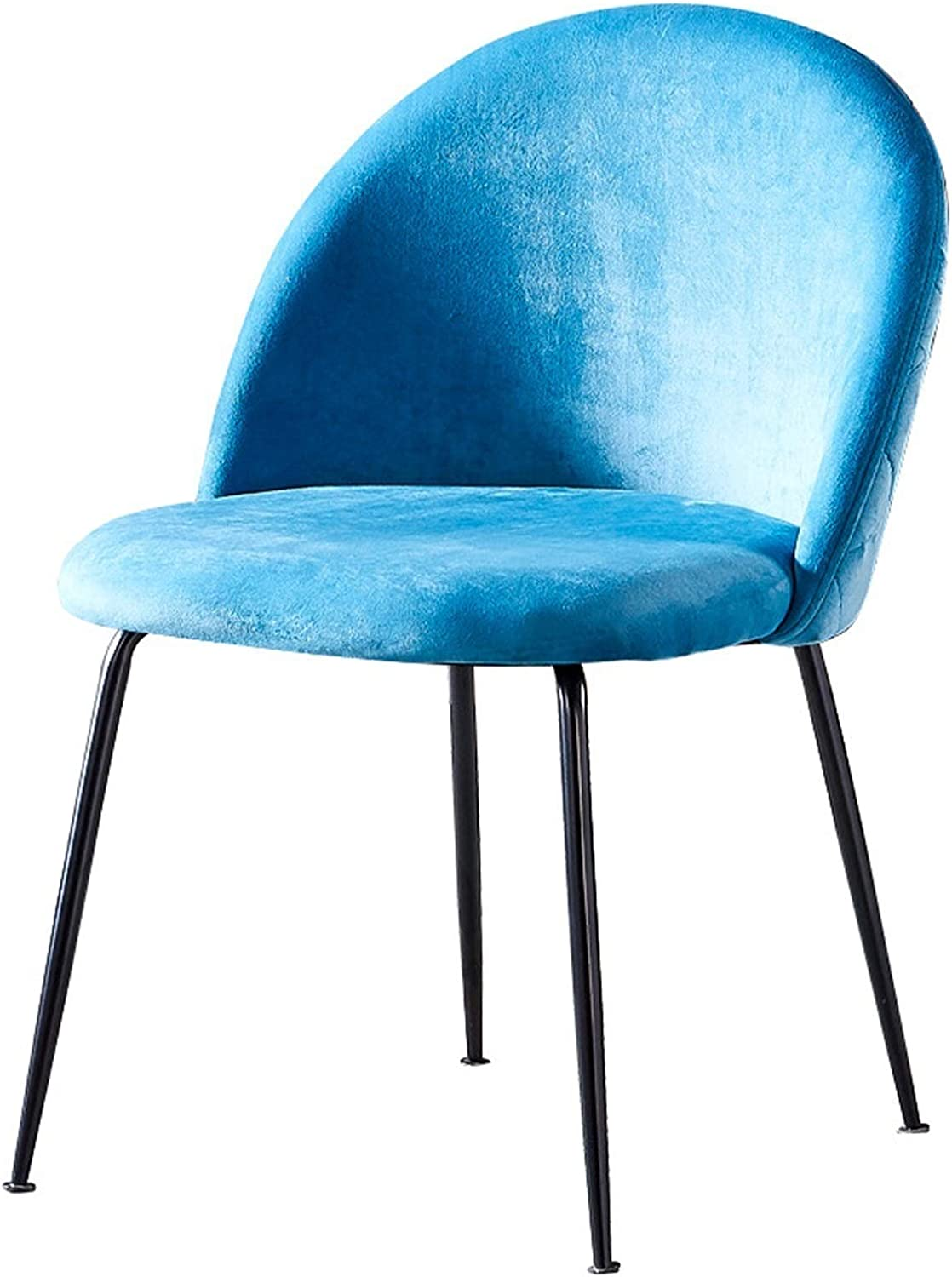Dining Chairs Modern Style Soft Velvet Fabric Seat Sturdy Metal Legs and Ergonomics Backrest Dining Living Bedroom Home Office Chairs (Color : Lake Blue)