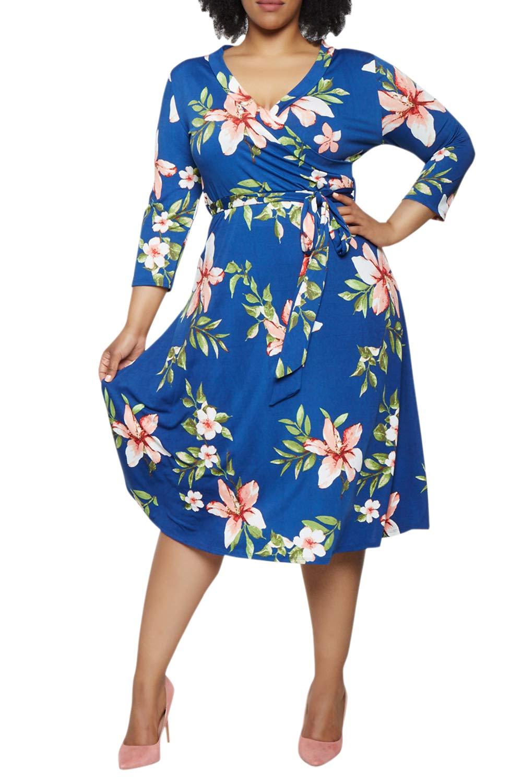 Pink Queen Women's Plus Size 3/4 Sleeve Summer Casual Floral Wraps Dress XL Blue