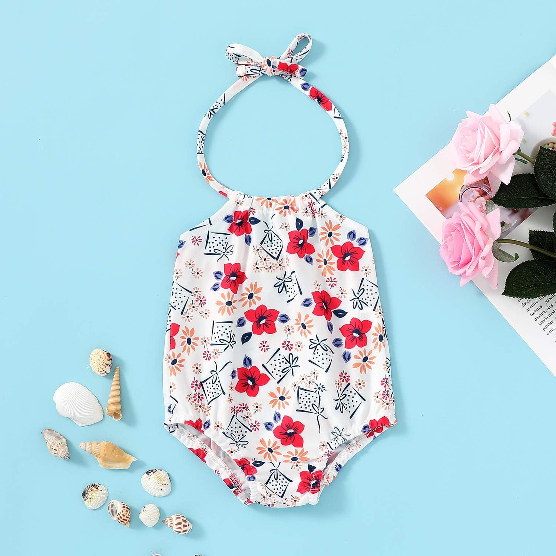 Kids Baby Girls One-Piece Pineapple Print Swimwear Summer Halter Backless Bikini Swimming Suit