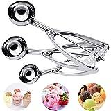 Ice Cream Scoop, Hisome 3PCS Stainless Steel Trigger Kitchen Scoop for Melon Baller, Baking, Fruit Salad Scoop, Cookie Scooper, Spoon Kit