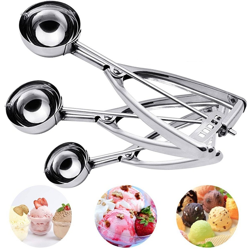 Ice Cream Scoop, Hisome 3PCS Stainless Steel Trigger Kitchen Scoop for Melon Baller, Baking, Fruit Salad Scoop, Cookie Scooper, Spoon Kit