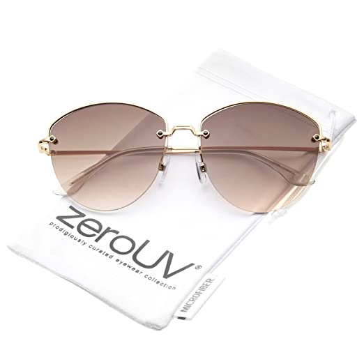 9c10ffa1f7 Modern Metal Nose Bridge Gradient Lens Semi-Rimless Sunglasses 60mm  (Gold Brown Gradient