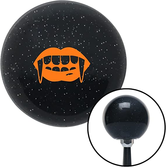 American Shifter 73661 Black Metal Flake Shift Knob with M16 x 1.5 Insert Orange Mouth with Fangs