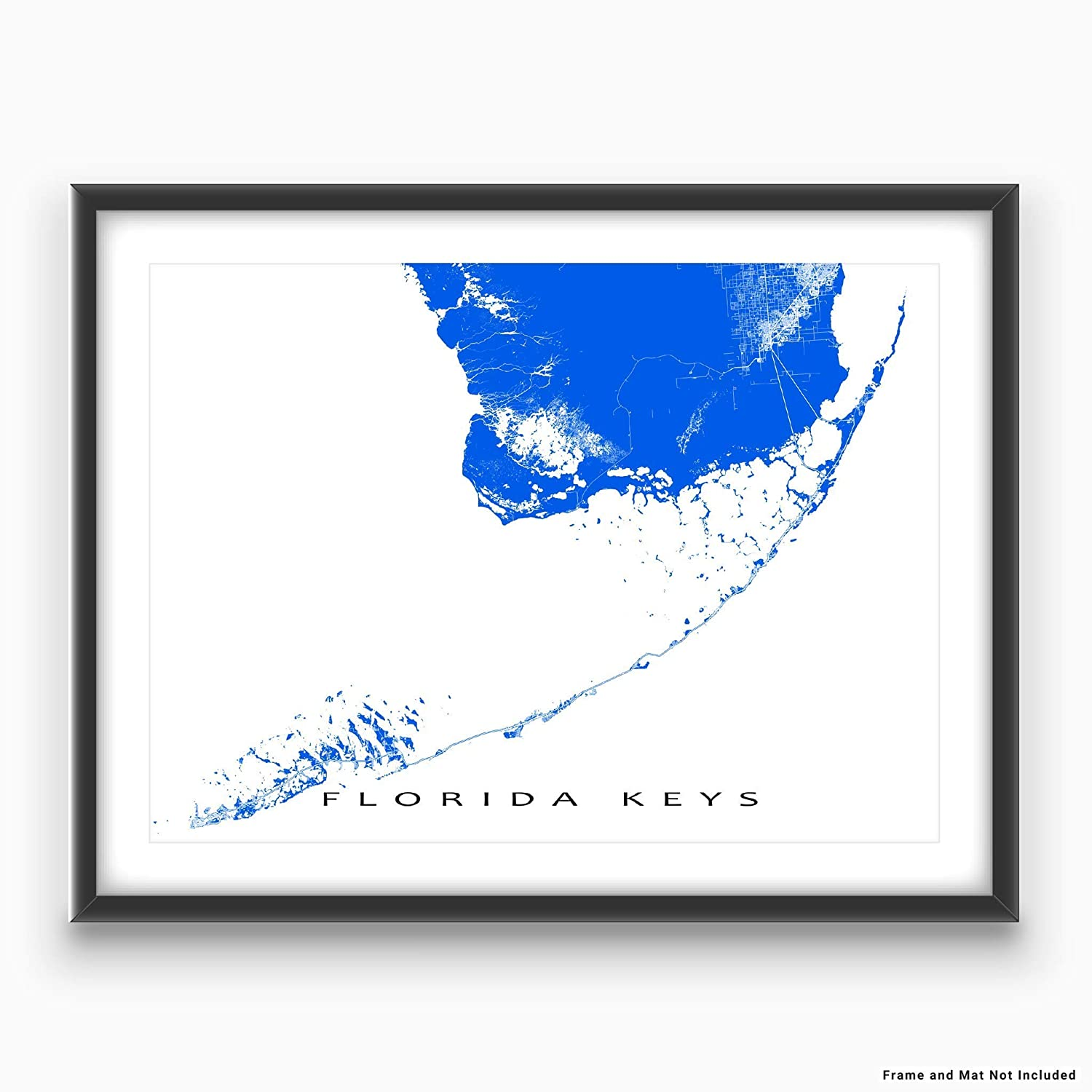 Map Of Florida Key West.Florida Keys Map Print Key West Key Largo Usa Art Poster