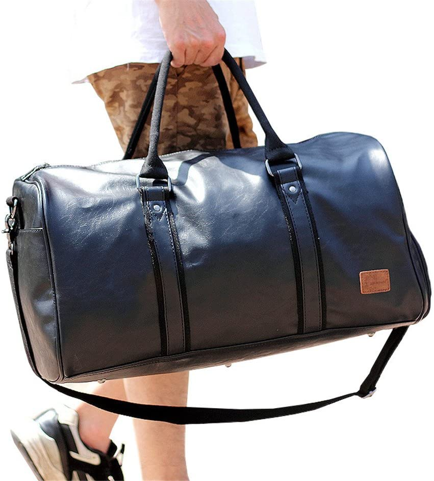 Black Mioy Vintage Waterproof Travel Tote Luggage Bag leather Large Capacity Mens Weekender Duffel Bag