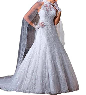 Mr.ace Homme Vintage Inspired vestidos de novia High Neck Sheer Lace Birdal Wedding Dresses