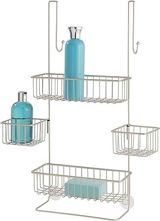 InterDesign Metalo Estantería de baño para colgar, estante de ducha con 4 cestas de metal, repisa de baño, plateado mate: Amazon.es: Hogar