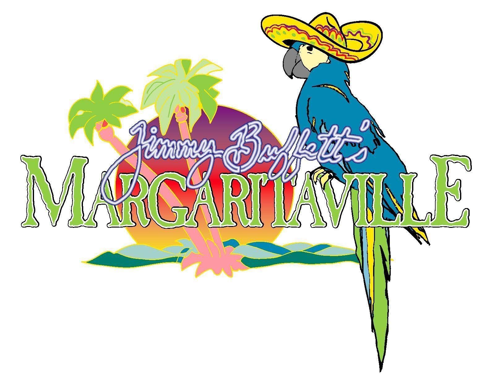 Workmas Sticker Margaritaville Jimmy Buffetts Sombrero Weather Resist for Windows Car Truck Cell Phone Bumpers Laptop Wall, 18''