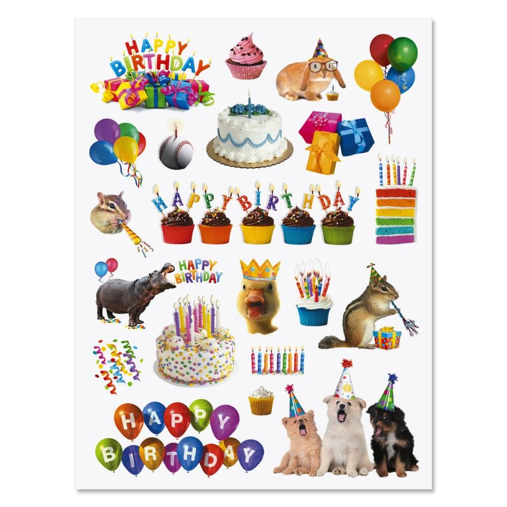 Amazon com current birthday stickers 84 stickers on 2 sticker sheets happy birthday stickers birthday party stickers toys games
