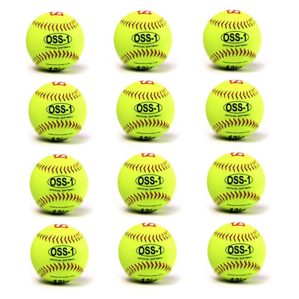 Pelota de softball de prácticas OSS-1 Barnett, talla 12, 12 unidades, color amarillo