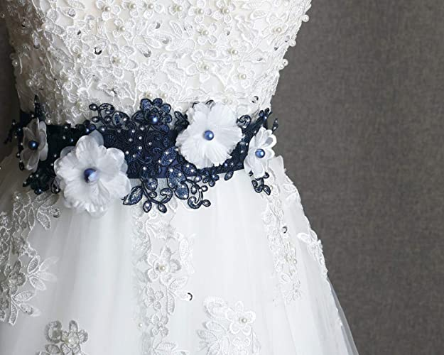 Amazon Com Navy Wedding Sash Swarovski Pearl Blue Belt