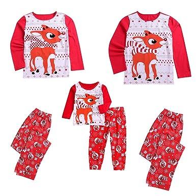 bbba46c41fc Miyanuby Ensembles de Pyjama Noel Famille Père Mère Garçon Fille Bébé  Pyjamas à Deux Pièces Set