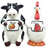 Bovine Cow and Chicken Hen Holding Eat Chicken Eat Beef Sign Salt Pepper Shaker Set Ceramic Home and Kitchen Accessory