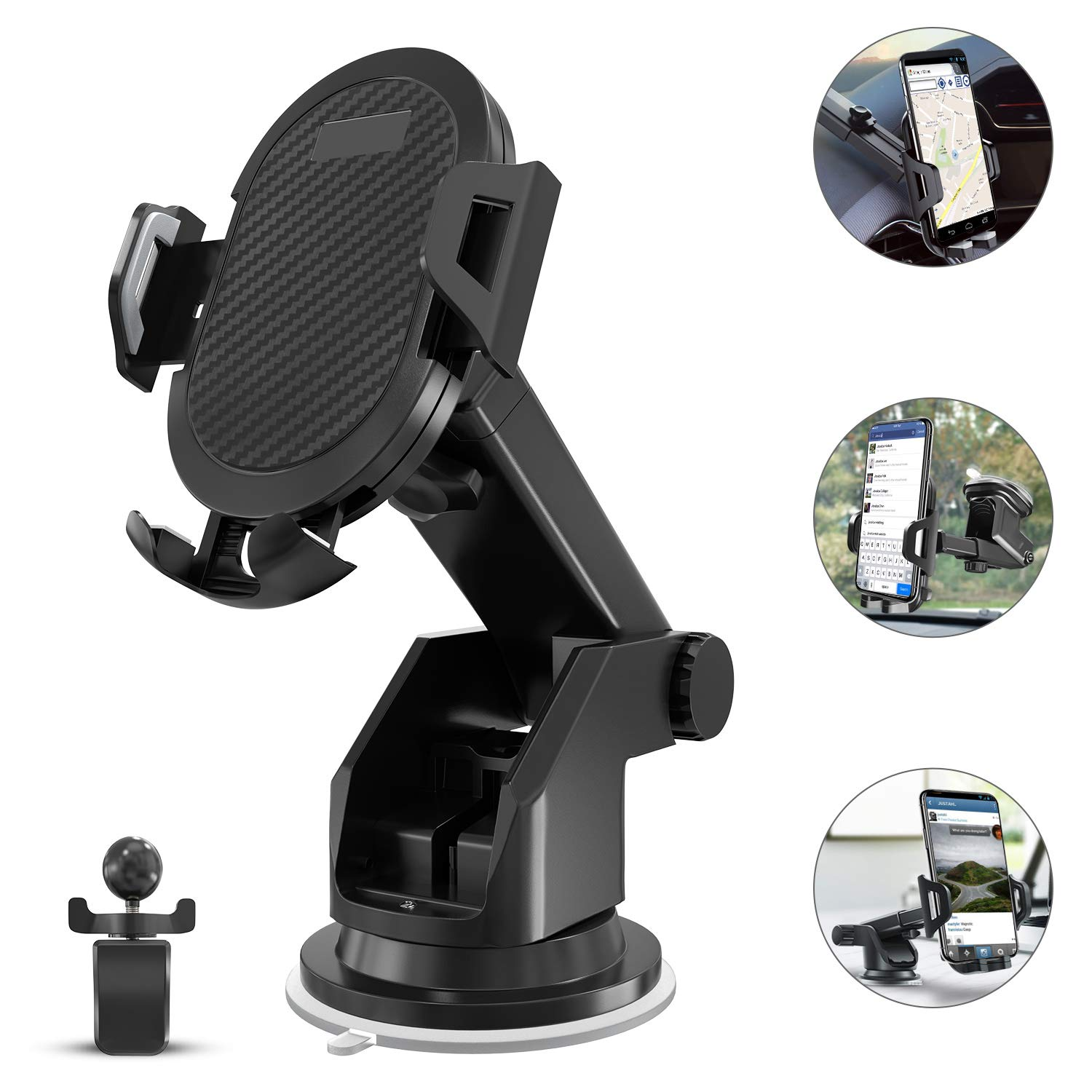 JDIBEST 2-in- 1 Dashboard Car Phone Mount,Car Phone Holder,Car Air Vent Mount Holder Cradle and Adjustable Windshield Holder Cradle with 360° Rotation for iPhone, Android - 2018 Upgrade