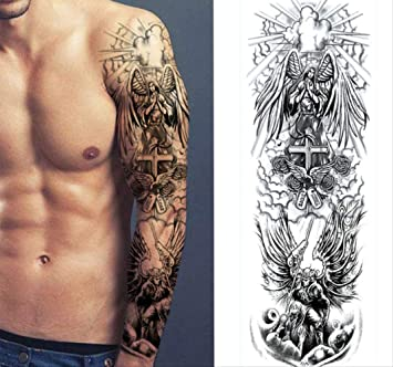 yyyDL Etiqueta engomada impermeable del tatuaje Pierna completa ...