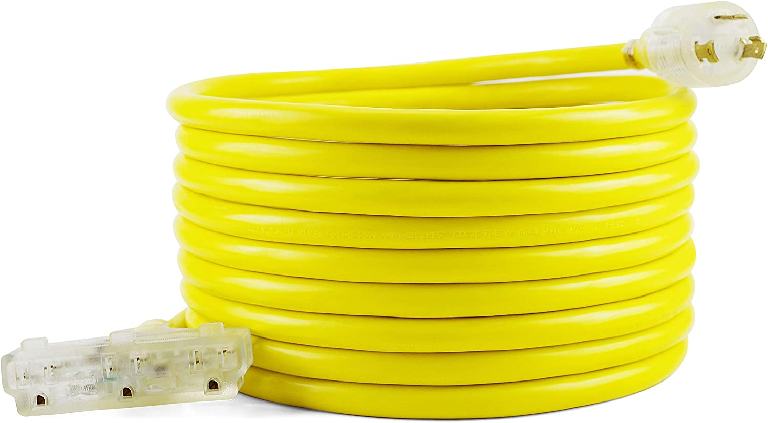 30A 125V Generator Power 3750 Watts Extension Cord Champion Power Equipment 48034 25 ft yellow L5-30P to Three 5-15R