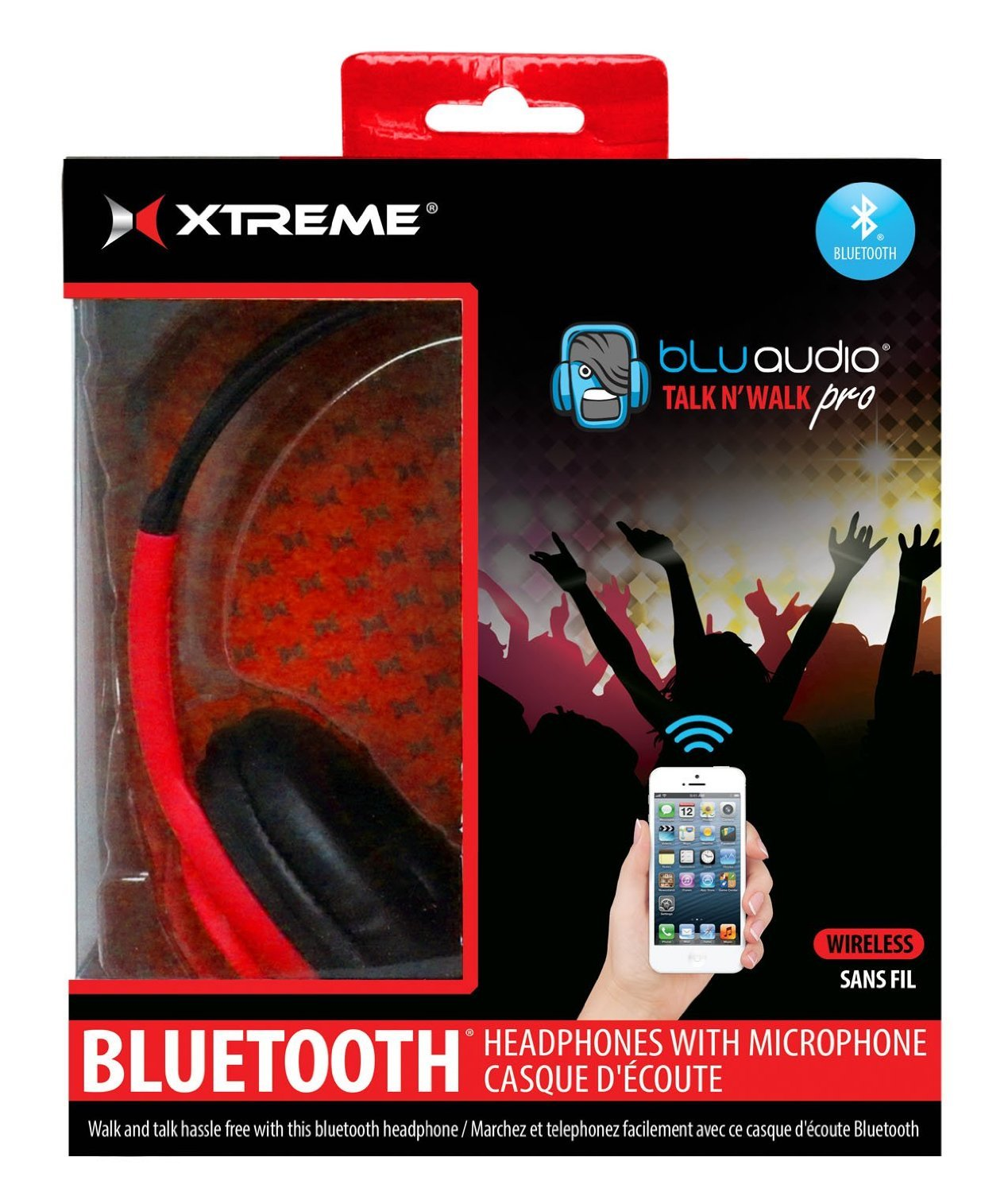 Xtreme Cables 51414 Talk N Walk Pro Bluetooth Headphones - Red