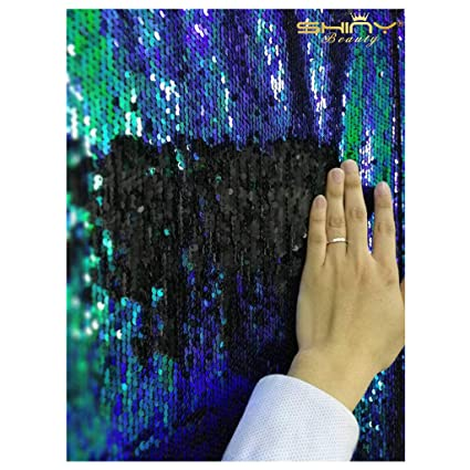 14453c122eac41 Mermaid Fabric by The 2 Yards Green Black Shimmer Reversable Sequin Fabric  6Feet Flip Fabric for Bridal