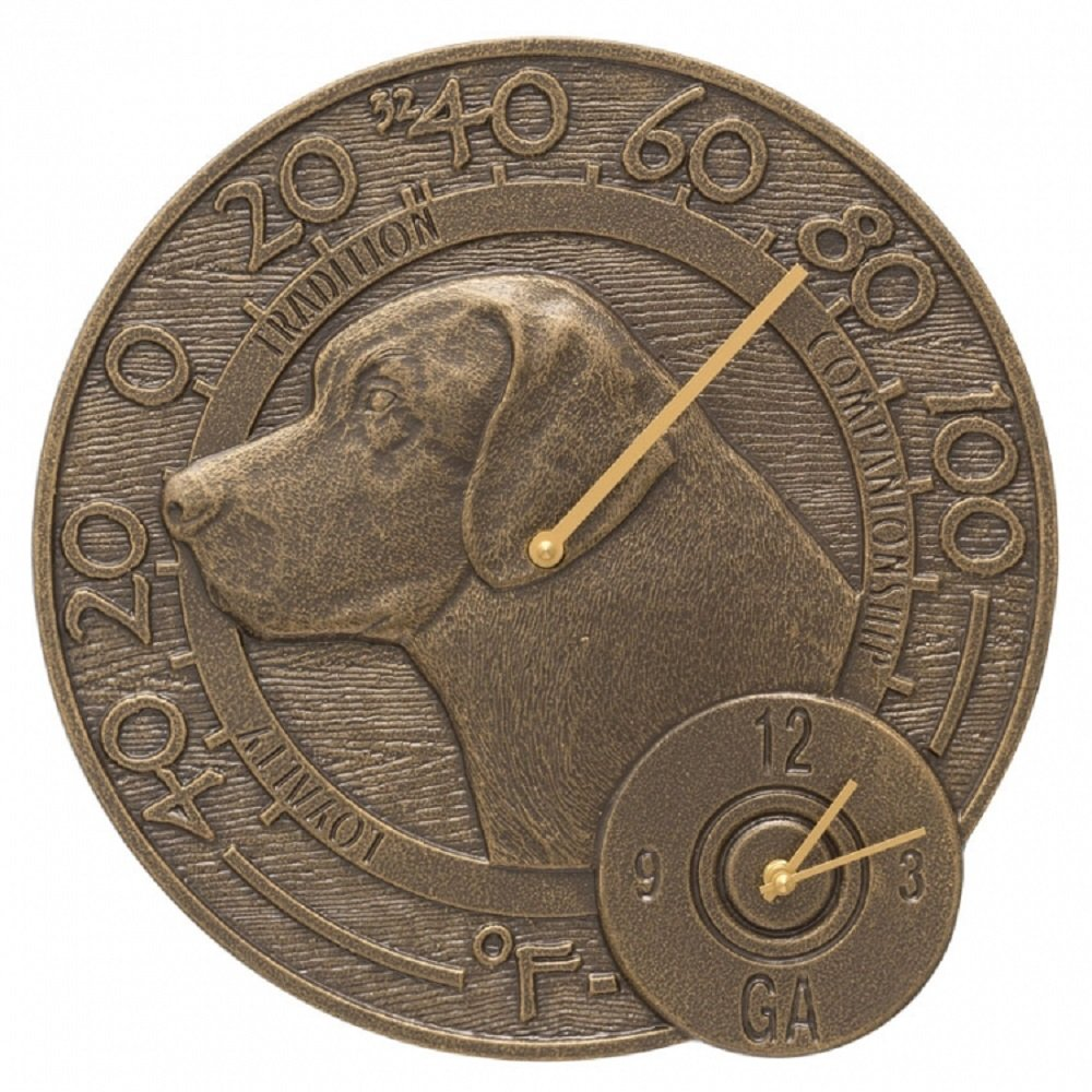 Whitehall Labrador Outdoor Clock & Thermometer 14'' Diameter by Whitehall