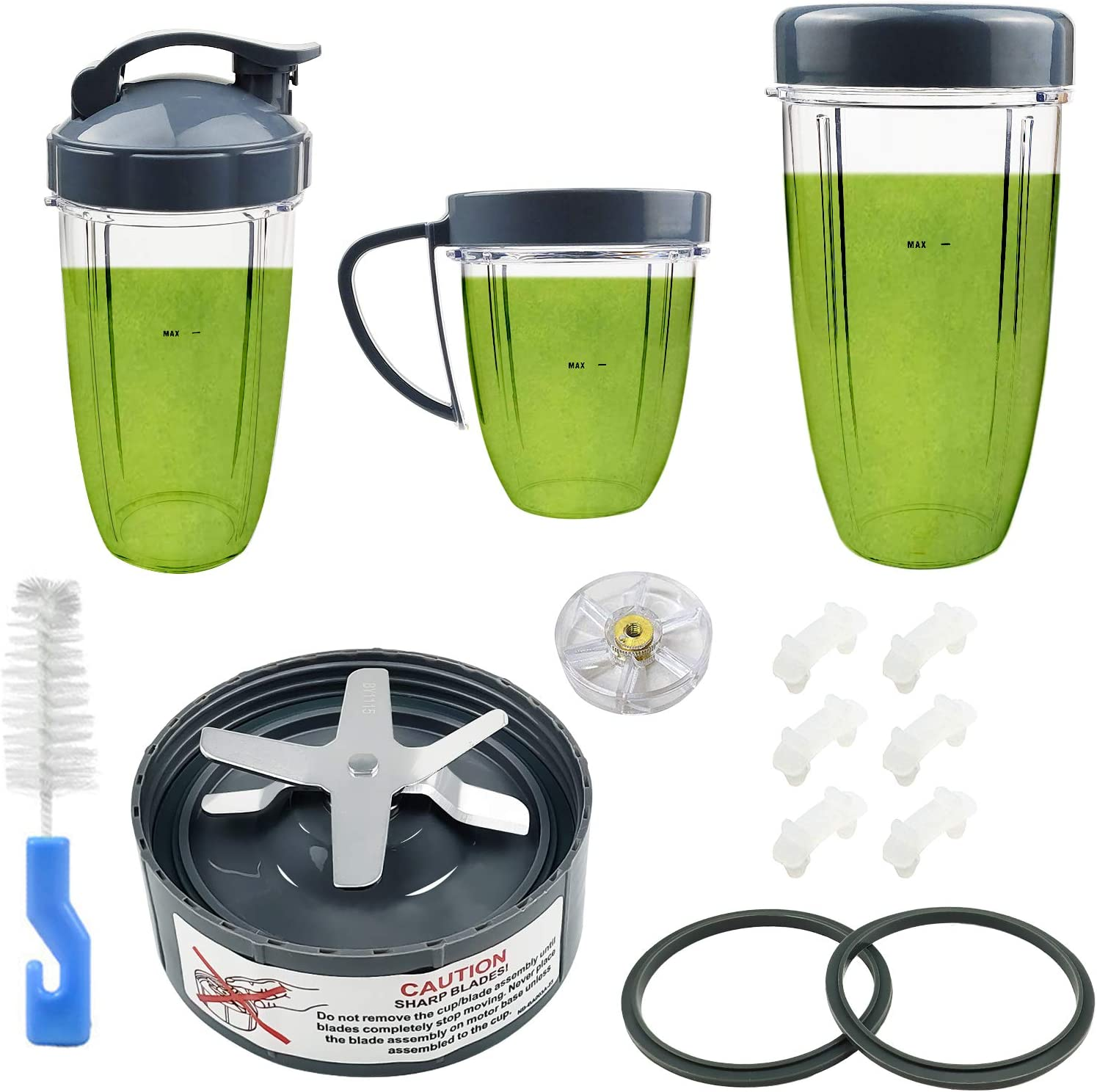 14 Pieces Blender Replacement Parts Extractor Blade And Cups for NutriBullet 600w 900w including Gasket Shock Pad and Gear (14 Pieces (1 Blade + 3 Cups +1 Lids))