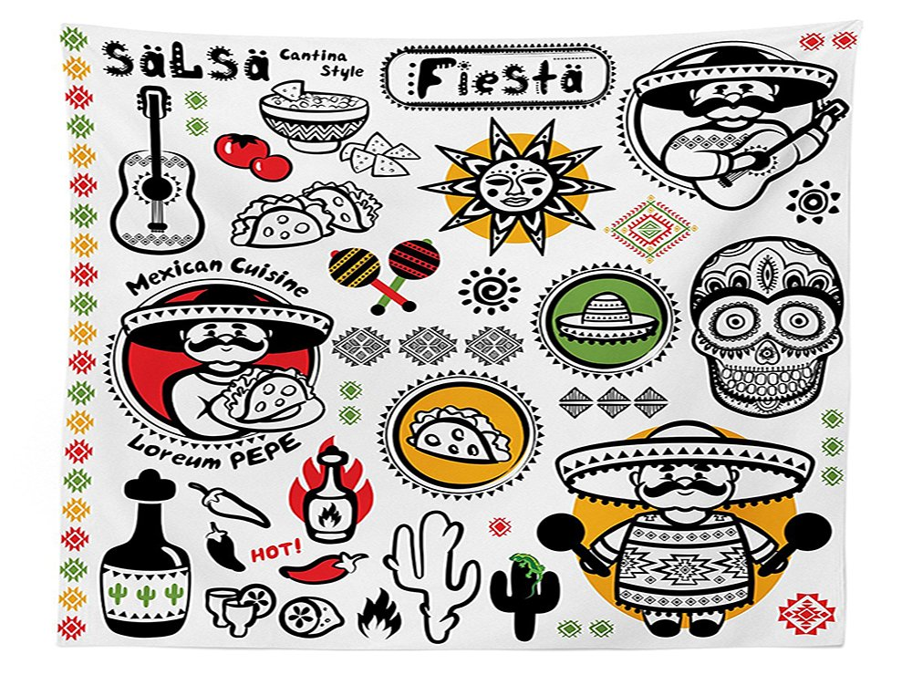 vipsung Mexicano decoración Mantel Latino Cultura Muertos azúcar Calavera Poncho Cocina Salsa Fiesta Arte Comedor Cocina Funda para Mesa Rectangular Multi: Amazon.es: Hogar