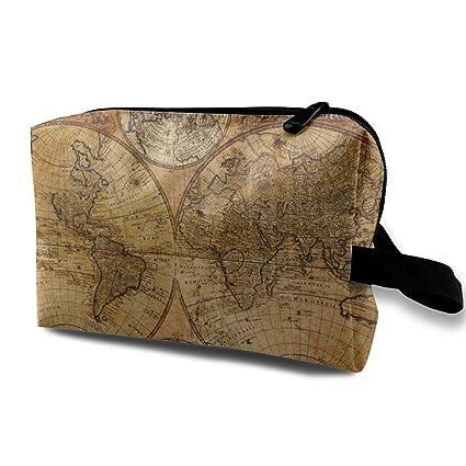 Bolso cosmético Bolso portátil Vintage Mapa del Viejo Mundo ...