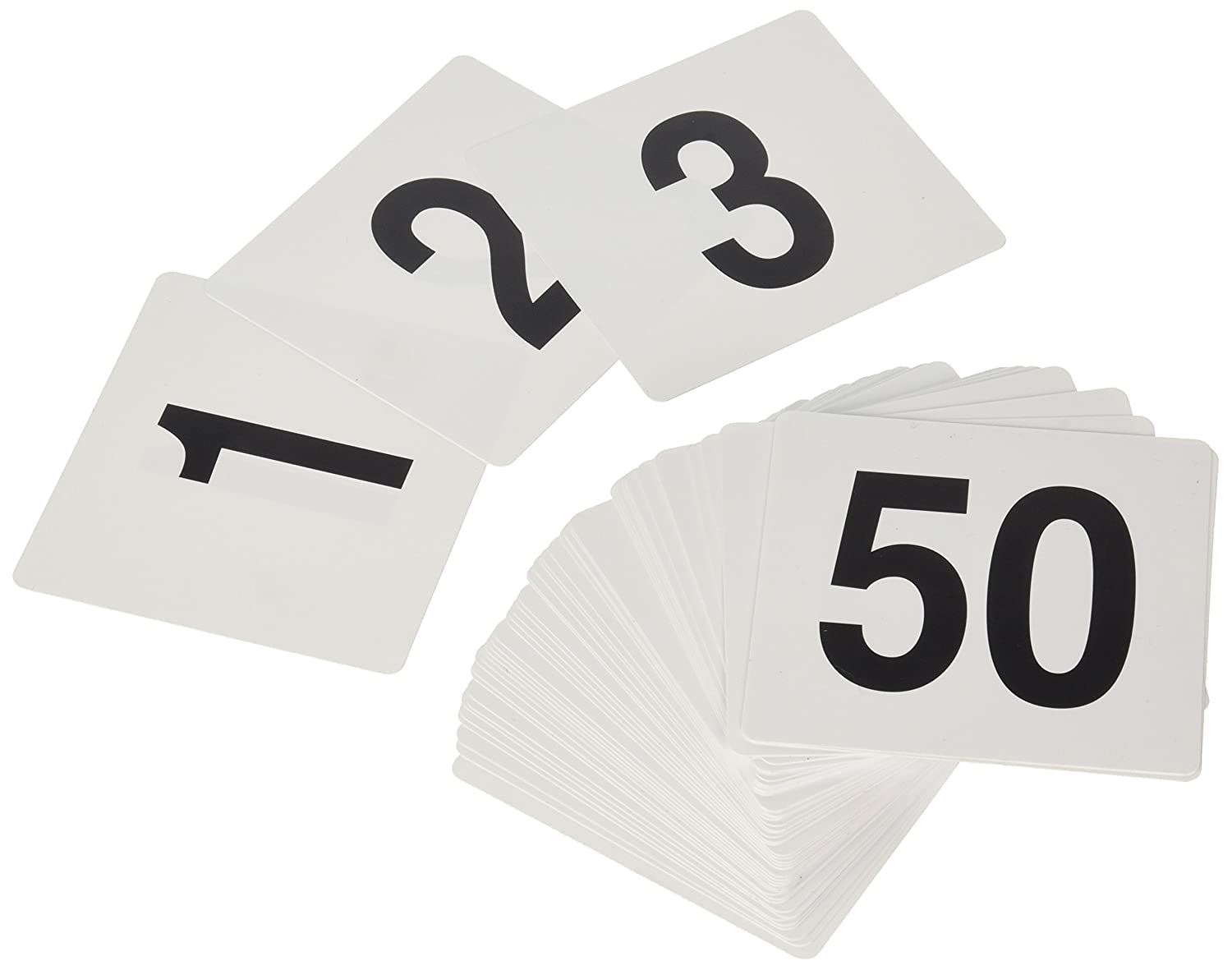 New Star 23176 1 to 50-Double Side Plastic Table Numbers, 4 by 4-Inch, Black on White New Star Foodservice