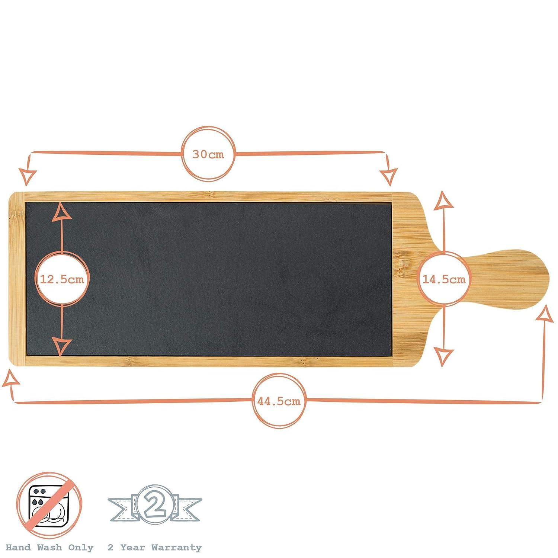 455 x 150 mm 3 Pezzi Argon Tableware Tagliere antipasti in Ardesia e bamb/ù
