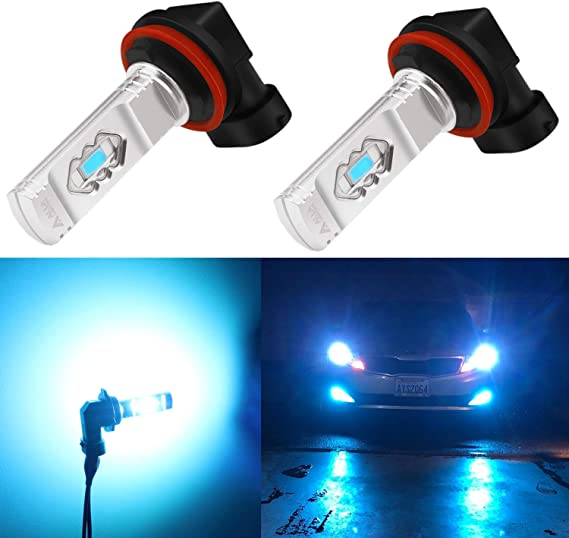Alla Lighting 3600lm Xtreme Super Bright H16 H8 H11 LED Fog Light Bulbs 8000K Ice Blue 12V ETI 56-SMD DRL Replacement for Cars