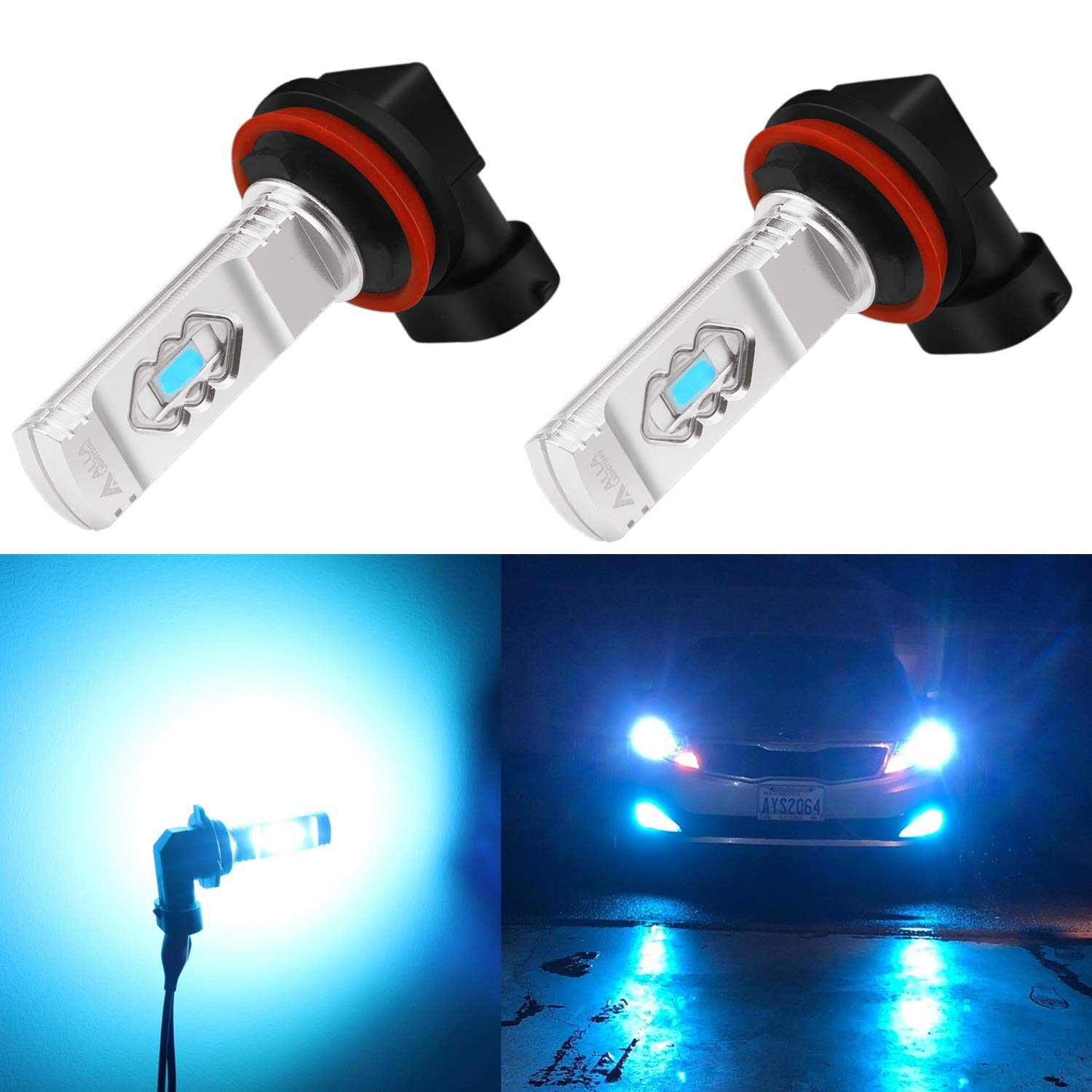 Alla Lighting 3600lm Xtreme Super Bright H11 LED Bulbs H11 Fog Light High Illumination ETI 56-SMD LED H11 Bulb H8 H16 H11 Fog Lights Lamp Replacement - 8000K Ice Blue
