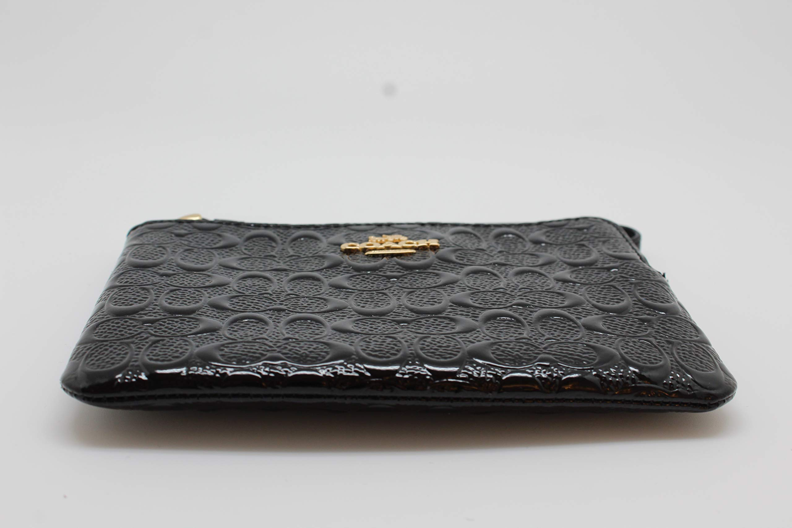 Coach Signature Debossed Patent Leather Corner Zip Wristlet