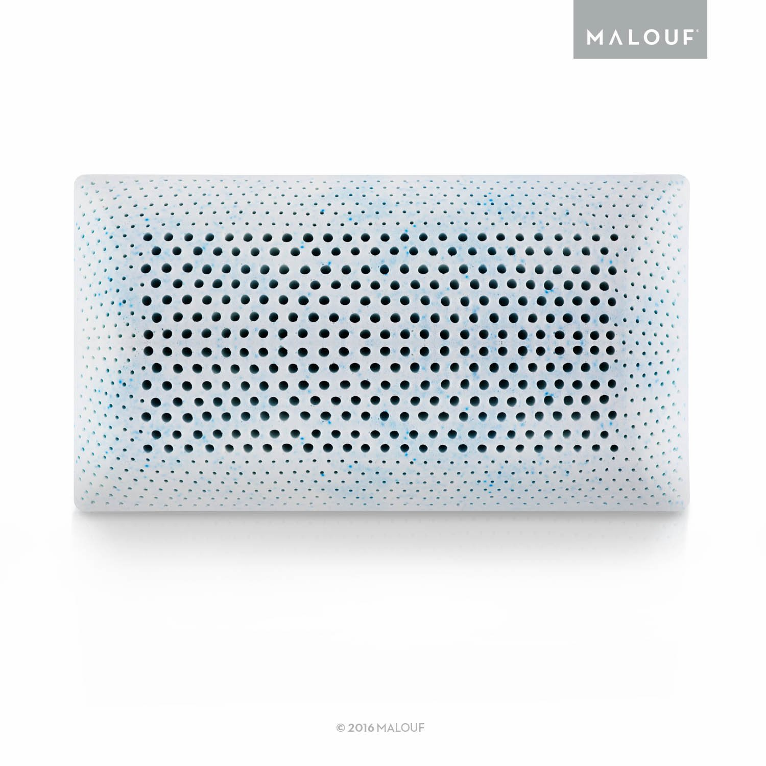 MALOUF Z Gel Infused Talalay Latex Pillow with Support Zones for Head and Neck - Queen Size, Low Loft Firm