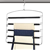 Magicool Space Saving Metal Pants Hangers 5 Layers Skidproof Foam Padded with Swing Arm Closet Organizer for Pants Jeans…