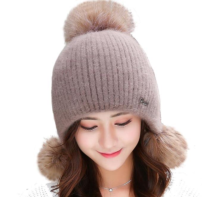 a37bcbddc USADNY Women's Ear Flap Hats with Pom Pom Thick Knit Three Faux ...