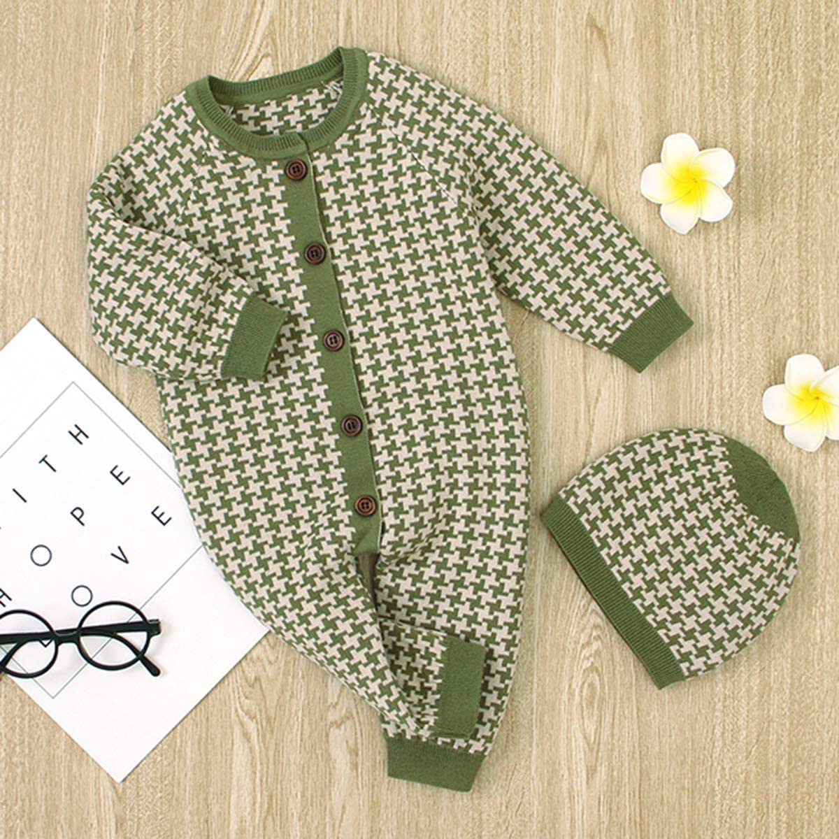 Haokaini Baby Cotton Knit Romper Long Sleeve Warm Jumpsuit Bodysuit with Hat for 0-24M Boys Girls