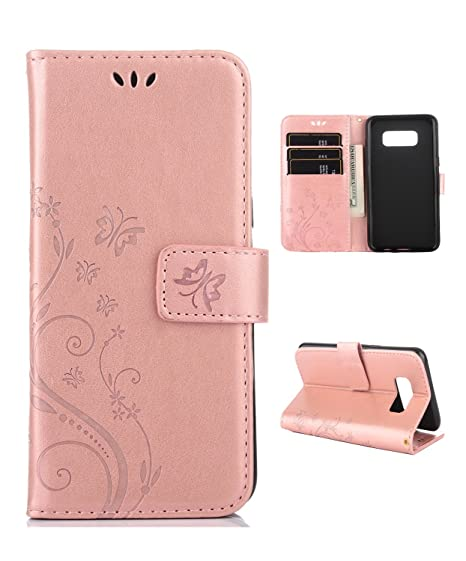 best cheap 8bb98 3c20a Samsung S8 Case,Galaxy S8 Wallet Case, FLYEE Flip Case Wallet Leather  [Kickstand] Emboss Butterfly Flower Folio Magnetic Protective Cover with  Card ...