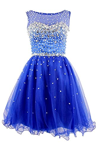 Prom Queen Women's A Line Short Prom Party Homecoming Dress With Beads