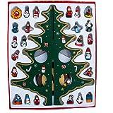 "Kurt Adler 11.75"" Wooden Tree with Miniature Wooden Ornaments, 25 Piece Set"